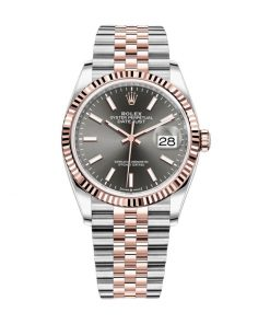 rolex datejust 126231 36mm steel gold automatic grey dial