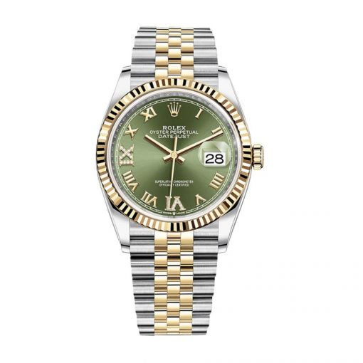 rolex datejust 126283rbr 36mm yellow gold steel green dial