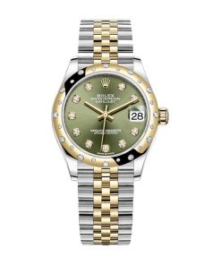 rolex datejust 278273 31mm yellow gold automatic olive green set with diamonds dial