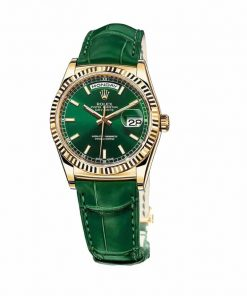 rolex day date 118138 v5 yellow gold green