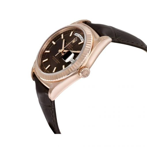 rolex day date 118139 36mm v5 stainless steel chocolate dial replica