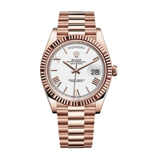 rolex day date 228235 40mm kw rose gold stripe dial