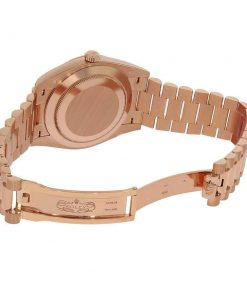 rolex day date 228235 ar stainless steel with rose gold chocolate roman dial replica 1