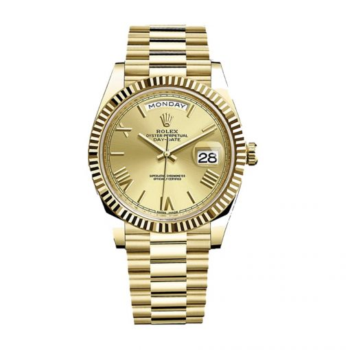 rolex day date 228238 40mm kw yellow gold champagne dial