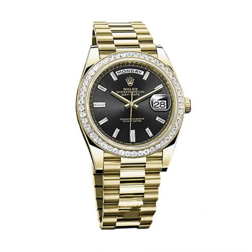 rolex day date 228398tbr kw yellow gold diamonds black dial oyster