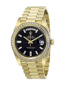 rolex day date 228398tbr kw yellow gold diamonds black dial oyster replica