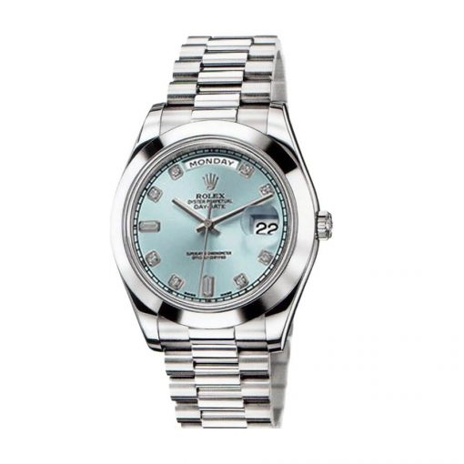 rolex day date ii 218206 41mm v6 stainless steel blue dial replica 1