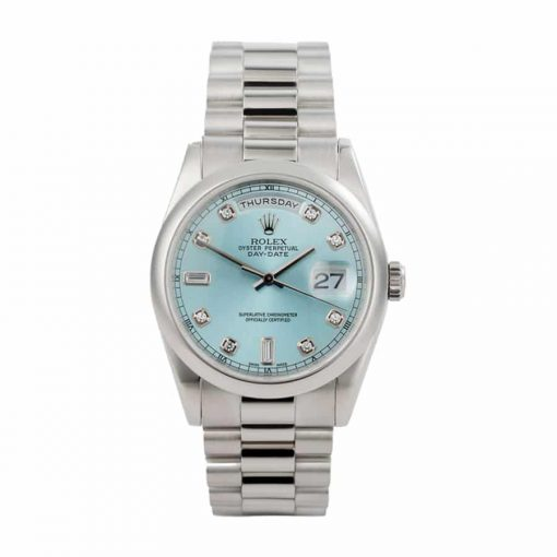 rolex day date ii 218206 v6 stainless steel blue dial replica