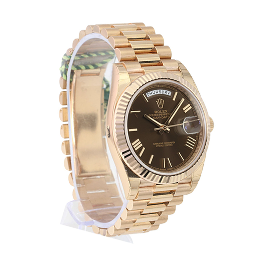 Rolex Day-Date 228235 AR Stainless Steel With Rose Gold Chocolate Roman Dial Replica
