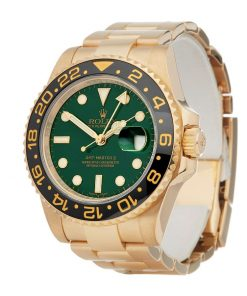 rolex gmt master 116718ln ii yellow gold automatic green dial
