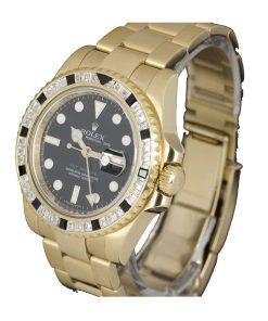 rolex gmt master ii 116748sanr yellow gold automatic black dial replica