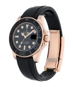 rolex yacht master 40 116695sats rose gold automatic rubber black dial replica