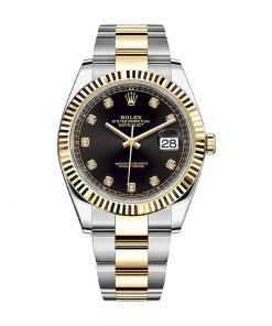 rolex datejust 126333 yellow gold steel automatic black dial oyster replica