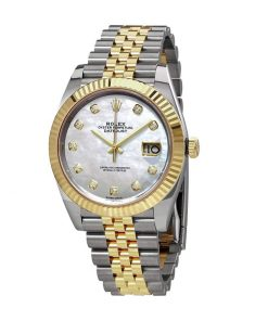 rolex datejust 126333 yellow gold steel automatic mother pearl diamond dial jubile