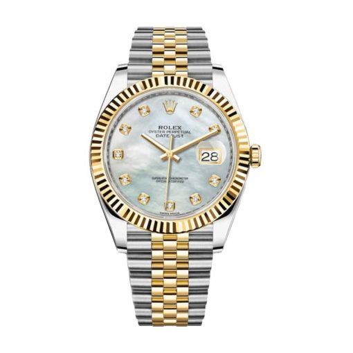 rolex datejust 126333 yellow gold steel automatic mother pearl diamond dial jubilee replica