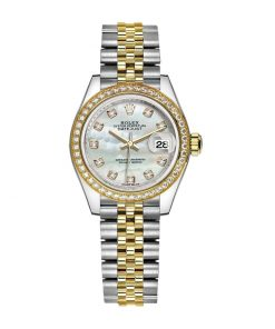 rolex datejust 28mm 279383rbr yellow gold steel automatic mother pearl diamond dial