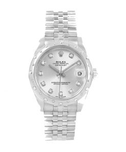 rolex datejust 31mm 178344 steel white gold automatic mother pearl diamond dial 2