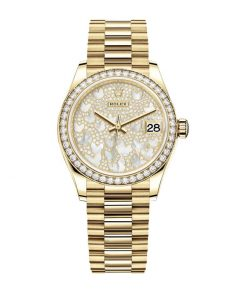 rolex datejust 31mm 278288rbr yellow gold and diamond automatic mother pearl butterfly dial