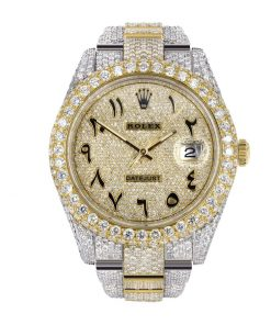 rolex datejust two tone yellow gold arabic dial iced out 116300 replica