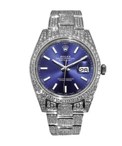 rolex datejust white gold blue dial iced out 126300 replica