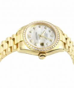 rolex datejust mother of pearl diamond dial yellow gold 1782
