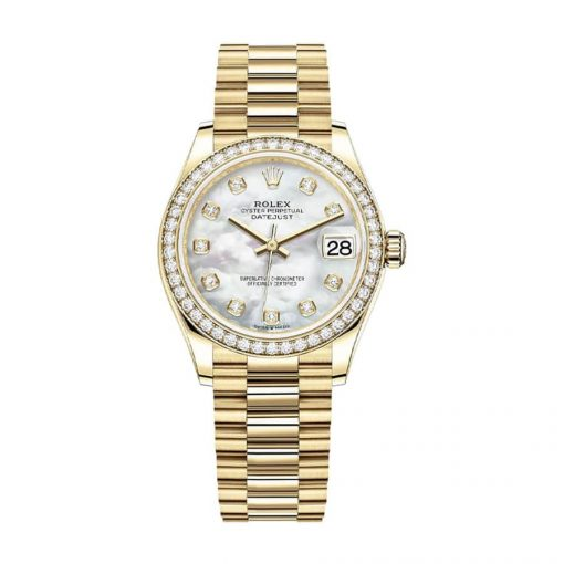 rolex datejust mother of pearl diamond dial yellow gold 178288 replica 1