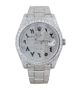 rolex datejust white gold diamond arabic dial iced out 116623 replica 2